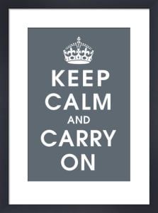 Keep Calm (charcoal) by Vintage Repro