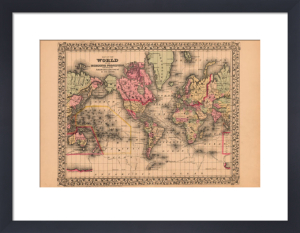 Map of the World, 1867 by Ward Maps
