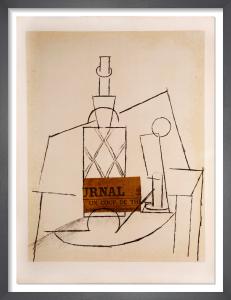 Papiers Collés Series, Bouteille de Rhum Paillée, Verre et 'Le Journal', 1966 by Pablo Picasso