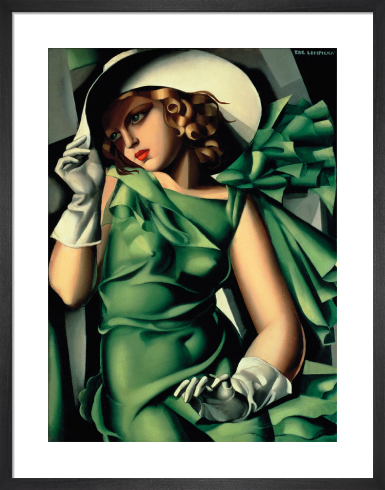 Young Lady With Gloves Girl In A Green Dress Art Print By Tamara De Lempicka King Mcgaw