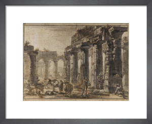 Paestum, Italy, Interior of the Basilica from the South-West with the Temple of Neptune behind by Giovanni Battista Piranesi