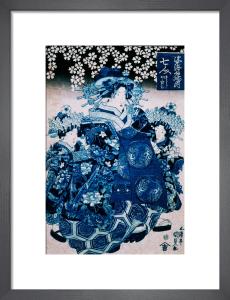 The Courtesan Nanahito of Sugataebi-ya with attendants by Utagawa Kunisada