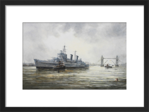 HMS Belfast arriving in the Pool of London by John Sutton