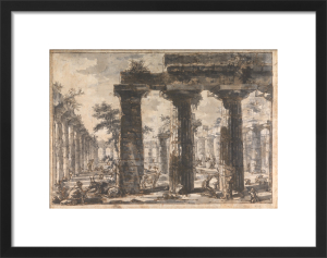 Paestum, Italy, Interior of the Basilica from the East by Giovanni Battista Piranesi