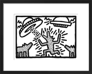 Untitled, 1982 (dogs with UFOs) by Keith Haring