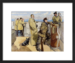St George's Day 1918 - Bridge of HMS Canterbury by Philip Connard