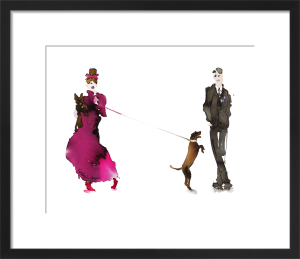 What to Wear When Walking the Dogs - Him & Her (Pink Dress & Bow) by Bridget Davies
