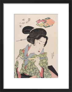 Geisha smoking a pipe by Keisai Eisen
