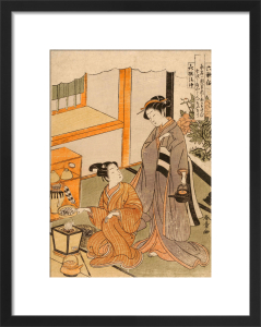 Young lovers preparing tea by Katsukawa Shunsho