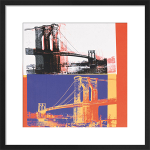 Brooklyn Bridge, 1983 (black bridge, white background) by Andy Warhol