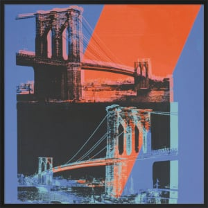 Brooklyn Bridge, 1983 (pink, red, blue) by Andy Warhol