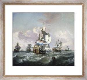 A Squadron of Dutch Indiamen in Choppy Seas by Jan Claesz Rietschoof