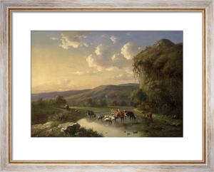 Cattle and Sheep Watering in a Landscape, 1853 by Louis Pierre Verwee