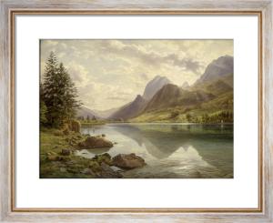 An Alpine Lake Scene by Hermann-David-Salomon Corrodi