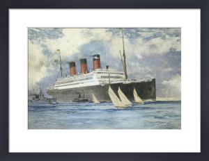 Berengaria leaving Southampton, 1927 by Charles Edward Dixon