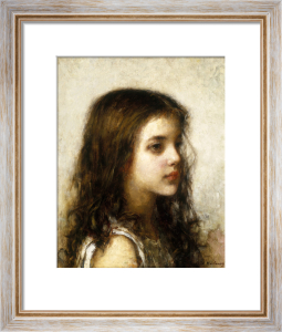 A Portrait of a Young Girl by Alexei Alexeiewitsch Harlamoff