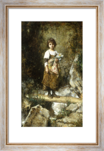 A Peasant Girl on a Footbridge by Alexei Alexeiewitsch Harlamoff