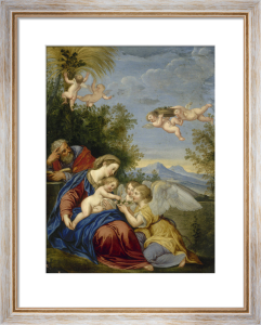 The Holy Family with Angels by Francesco Albani
