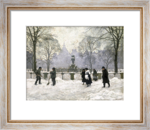 Snow Scene in the Kongens Nytorv, Copenhagen by Paul Gustav Fischer