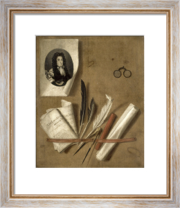 Trompe L'Oeil Still Life with Letter Rack and Portrait by Edward Collier