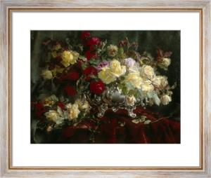 Elegant Bouquet of Flowers in a Silver Vase by Jef de Belder