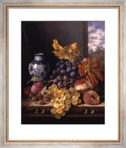 Still Life with Grapes, Plums, Cobnuts, Peaches by Edward Ladell