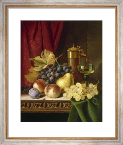 Still Life with Grapes, Peaches, Wine Goblet and Covered Flask by Edward Ladell
