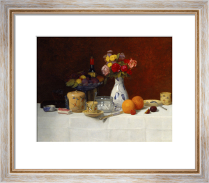 Still Life with Flowers, Oranges and Coffee Cups, 1891 by Joseph Bail