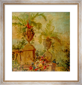 Still Life with Flowers and Tropical Plants on a Balustrade I by Jean Capeinick