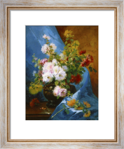 Still Life of Flowers with Blue Drapery by Eugene Henri Cauchois