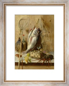 A Lobster, Oysters, Nets and a Bottle by Oreste Costa