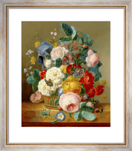 A Still Life of Flowers in a Basket on a Ledge by Jean Francois Eliaerts