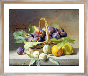 A Still Life of Figs, Walnuts, an Orange and a Lemon, 1855 by William Hammer