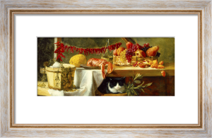 Still Life with Peppers, Fruit, a Lobster and a Cat by Daniel Hock