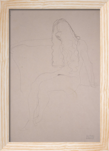 Seated Nude, Her Face Covered by her Hair by Gustav Klimt