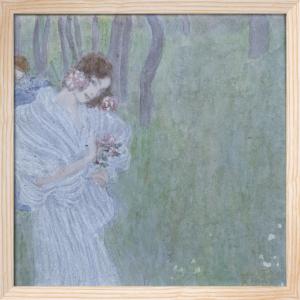 Madchen mit Blumen in der Hand am Rand Eines Waldes, c.1897 by Gustav Klimt