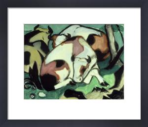 Ruhende Kuhe (Kauernder Stier) by Franz Marc