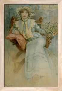 Mistletoe: Portrait of Mme. Mucha, 1903 by Alphonse Mucha