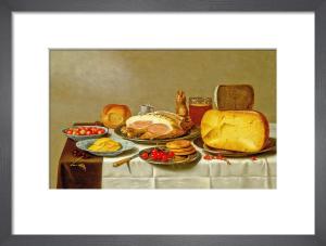 Still Life of Biscuits, Cherries, Cheeses and Hams by Floris Gerritsz van Schooten