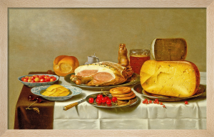 Still Life of Biscuits, Cherries, Cheeses and Hams by Floris Gerritsz van Schooten