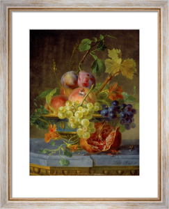 Grapes, Peaches, Plums and Nasturtiums in an Ornate Bowl by Willem van Leen