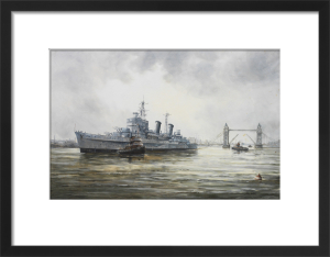 HMS Belfast arriving in the Pool of London by John Sutton