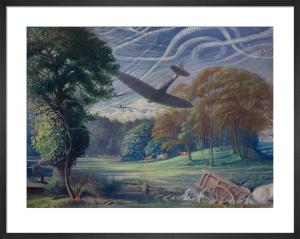 Spitfires Attacking Flying-Bombs, 1944 by Sir Walter Thomas Monnington
