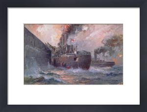 The 'Vindictive' at Zeebrugge by Charles John de Lacy