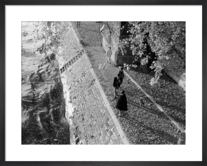 River Bank with long shadows, Paris 1963 by Alan Scales