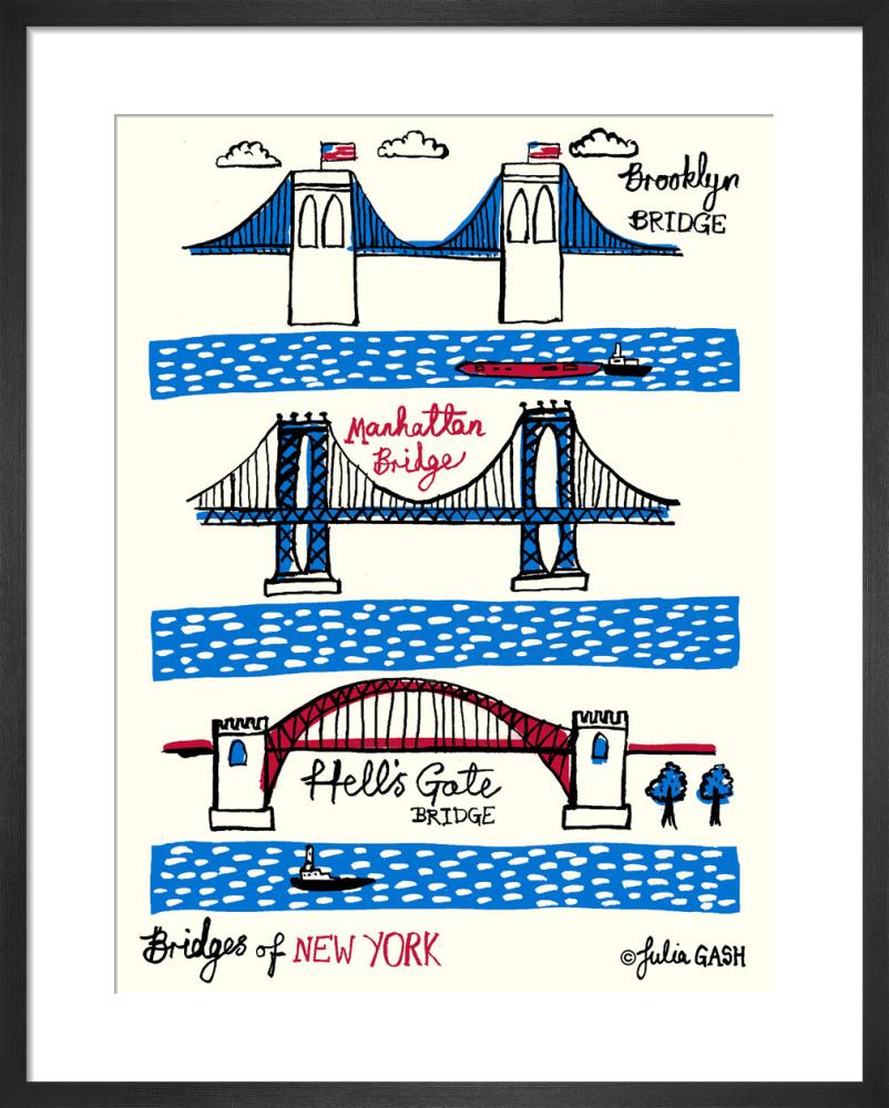 Bridges Of New York Art Print By Julia Gash King Mcgaw