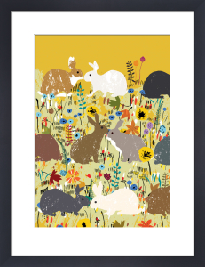Autumnal Rabbits by Louise Cunningham