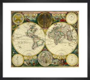 Atlas Maritimus, World Map, 1698 by John Seller