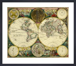 Atlas Maritimus, World Map, 1698 by John Seller