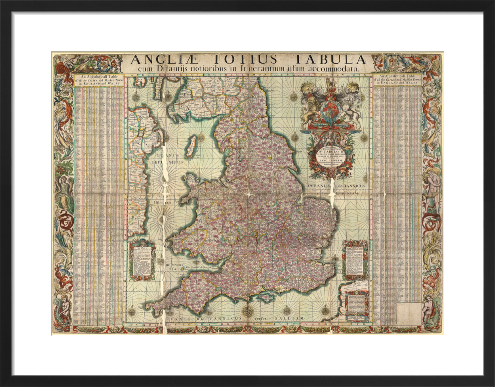 Map Of England And Wales With Towns.Map Of The Towns Of England And Wales 1680 Art Print By John Adams